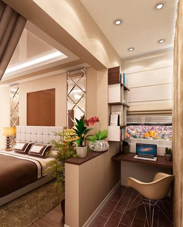Дизайн гостиной с балконом, зал совмещённый с лоджией