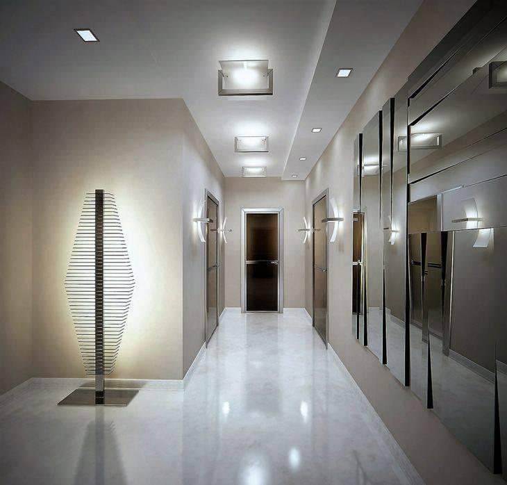 Освещение в коридоре (63 фото): свет в коридоре квартиры с натяжным потолком, подсветка пола с датчиком движения и ночное освещение. как организовать освещение в длинном узком коридоре с прихожей? современный дизайн в доме
