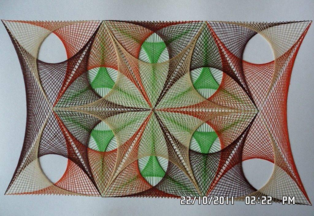 Картина панно рисунок день рождения изонить стринг-арт дерево нитки ткань