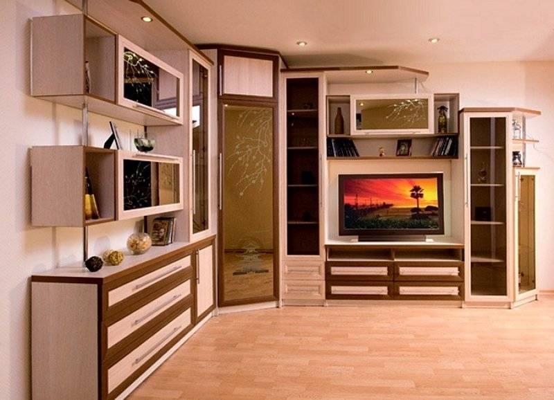 Варианты выбора угловых стенок в интерьер гостиной комнаты