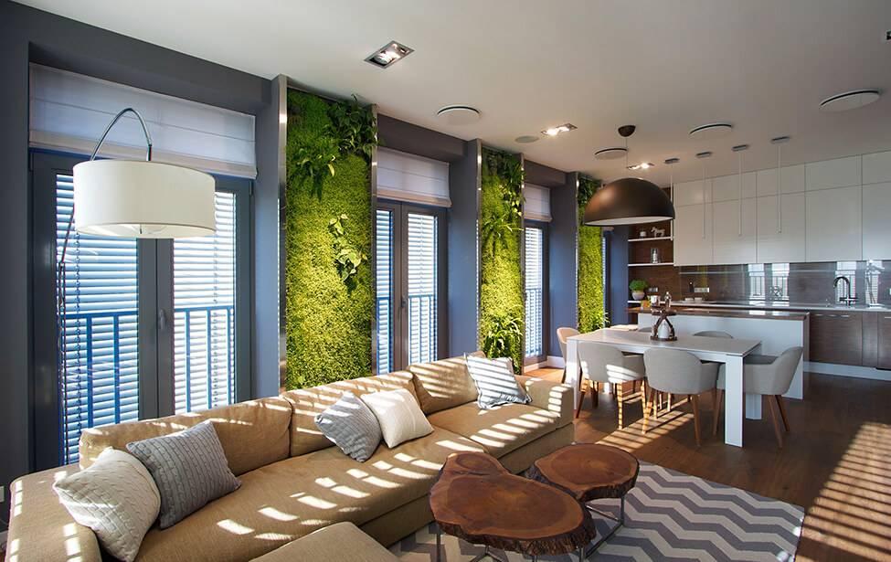Экостиль в интерьере (83 фото): дизайн квартиры в экологическом стиле. ремонт спальни, отделка ванной и других комнат в современном экостиле
