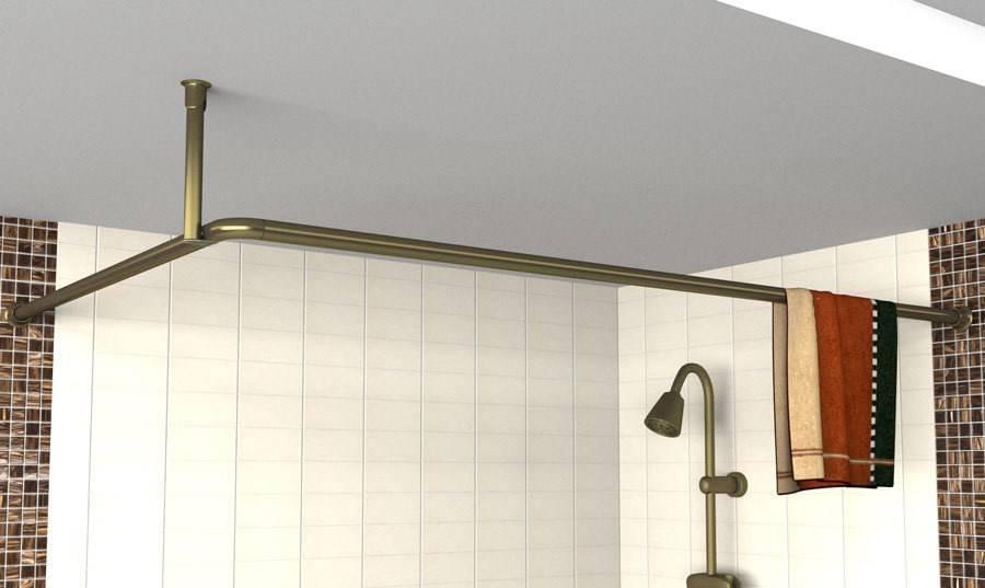 Карнизы для штор в интерьере ванной комнаты