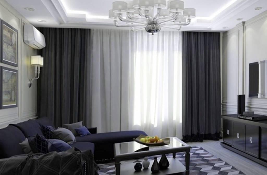 Серые шторы в интерьере гостиной: правильное сочетание, 50 фото интерьеров