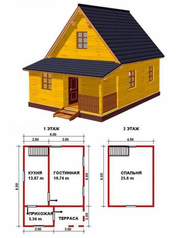 Проект дома 8 на 6 м с отличной планировкой