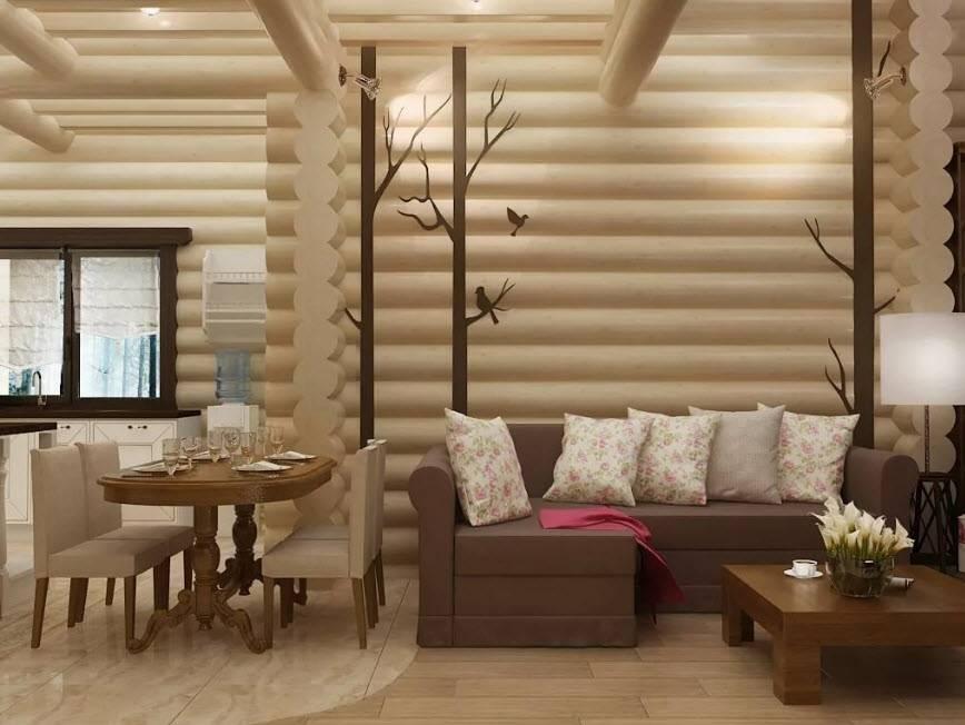 Гостиная в деревянном доме – неповторимость текстур и цвета как основа дизайна (88 фото + видео)