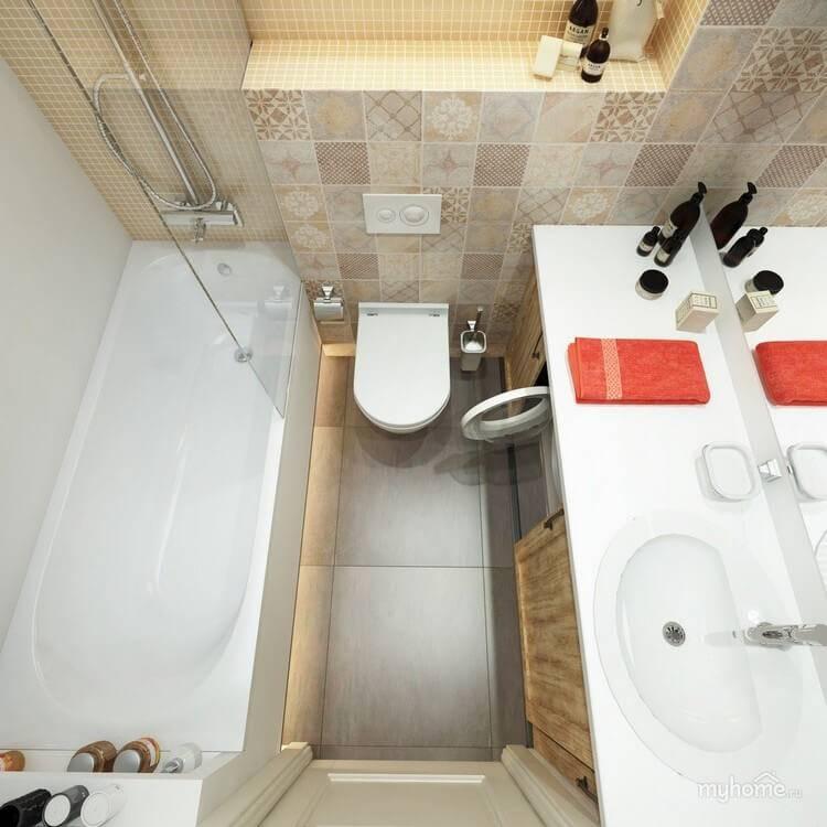 Дизайн ванной комнаты 3-5 кв м: планировка совмещенного санузла со стиральной машиной и туалетом  - 33 фото