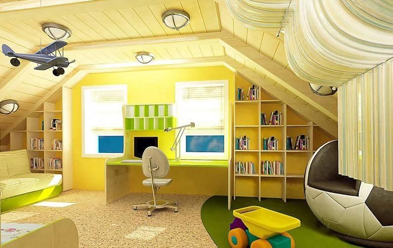Интерьер мансарды загородного дома или дачи, выбор отделки и стиля, фото дизайна интерьера мансардной спальни, гостиной, детской, комнаты для подростка