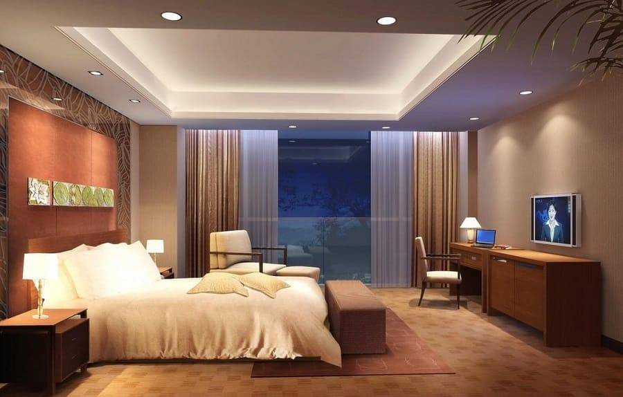 Натяжной потолок в спальне: варианты дизайна (100+ фото)