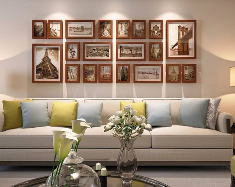 Оформление стены над диваном