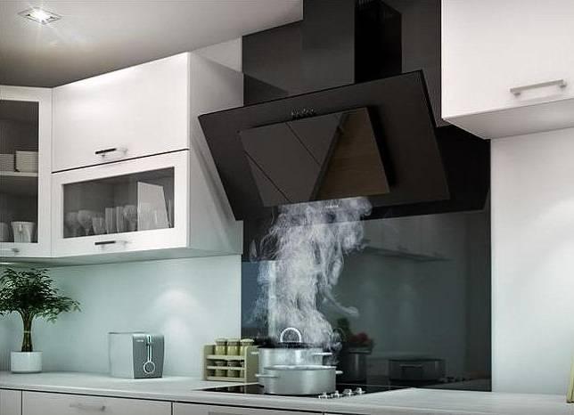 Вытяжка на кухне: дизайн интерьера, оформление наклонного гарнитура | дизайн и фото