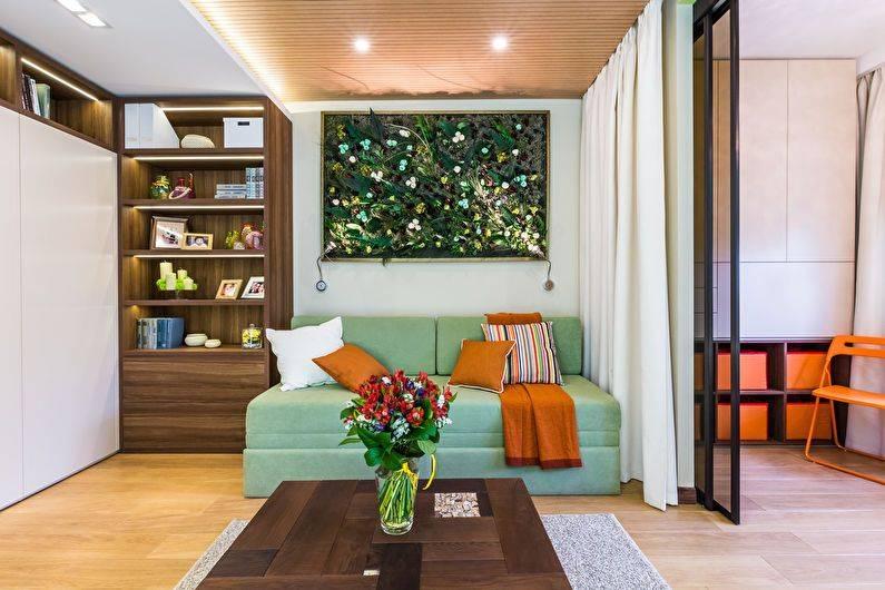 Разделение комнаты на две зоны: перегородкой, шторами, мебелью