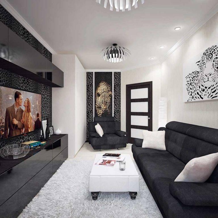 Дизайн чёрно-белого интерьера гостиной, варианты оформления зала с фото