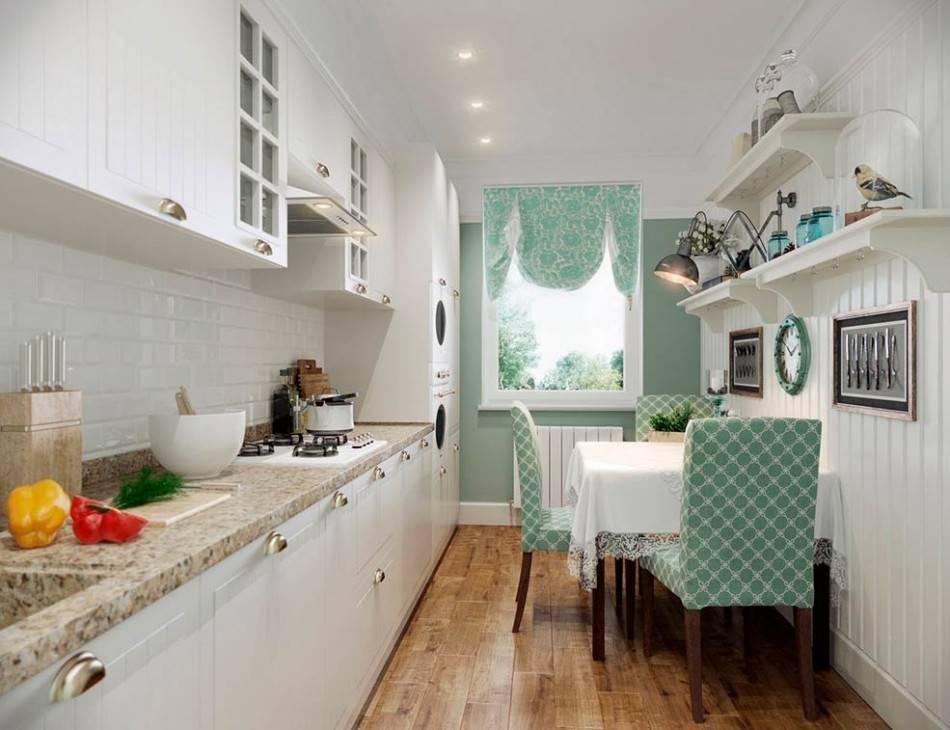 Дизайн узкой кухни - 100 фото интерьеров