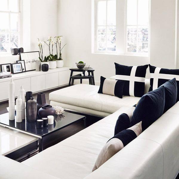 Черно-белые гостиные: особенности, стили, идеи
