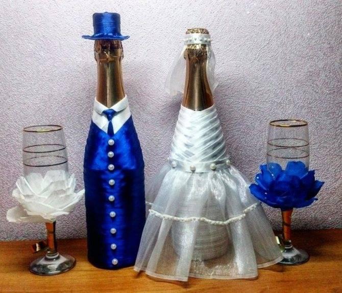 Оформление свадебных бутылок своими руками: мастер-класс с фото