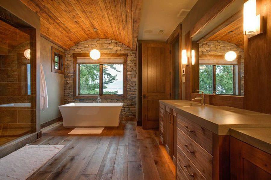 Ванная комната в деревянном доме – особенности обустройства, фото и видео