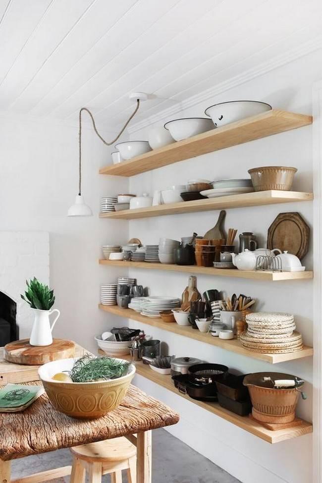 Дизайн полок для кухни и способы их изготовления
