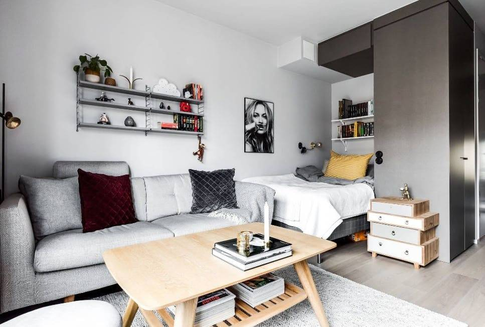 Дизайн квартиры-студии 30 кв. м (142 фото): планировка современного интерьера с одним окном и с балконом, как обустроить прямоугольную комнату