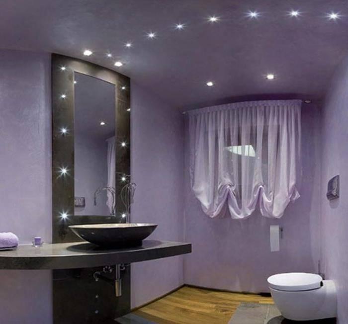 Расположение точечных светильников на натяжном потолке в комнатах, фото