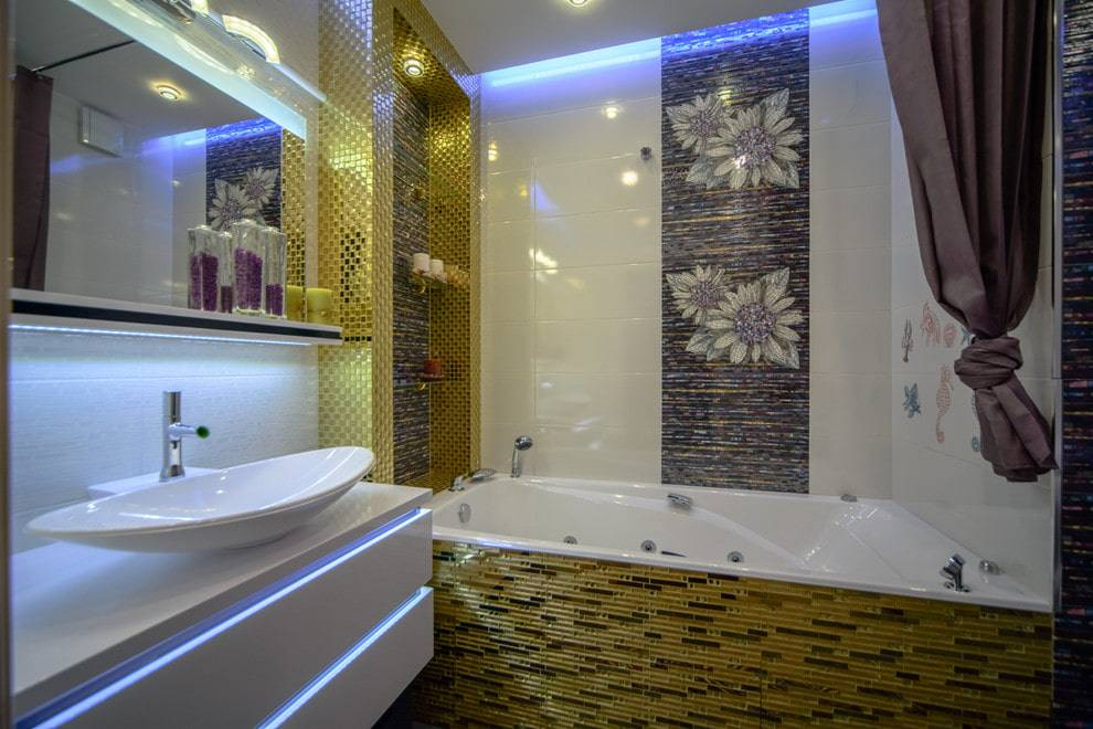 Плитка-мозаика для ванной: варианты и цветовые решения