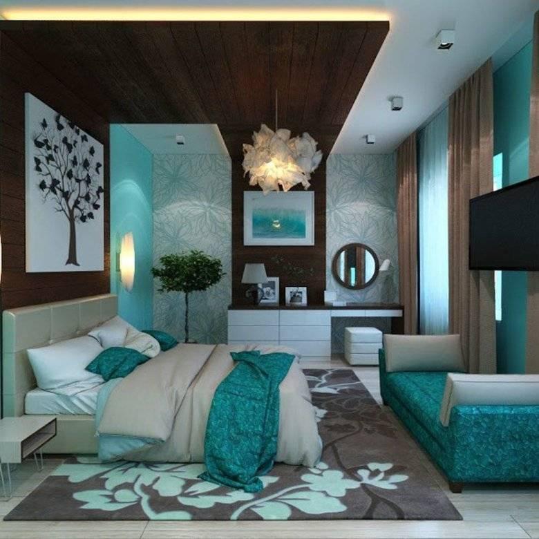 Дизайн спальни в бирюзовых тонах: 75 примеров