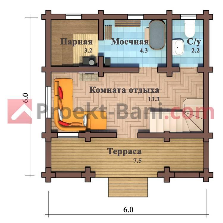 Планировка и обустройство бани размером 6х4