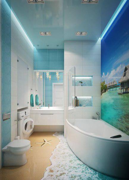 Ванна комната в морском стиле – фото интерьера и дизайна ванной