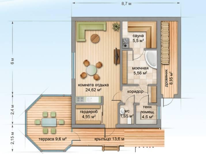 Бани с террасой и барбекю (45 фото): проекты бань с барбекю под одной крышей, красивые одноэтажные кирпичные бани с открытой террасой, другие варианты
