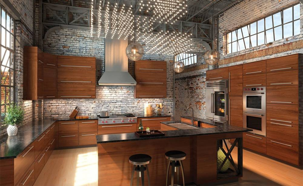 Маленькая белая кухня в стиле лофт: дизайн интерьера, обеденная зона, фартук и холодильник  - 45 фото