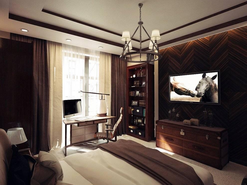 Дизайн комнаты для молодого человека в современном стиле: мужская спальня для парня, юноши 18-20 лет со шторами  - 29 фото