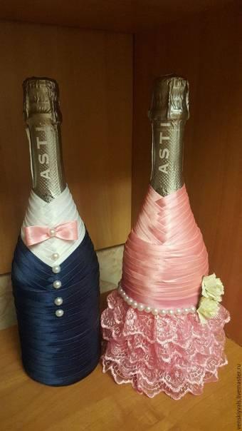 Мастер класс украшение бутылок лентами (фото и видео) - умелица