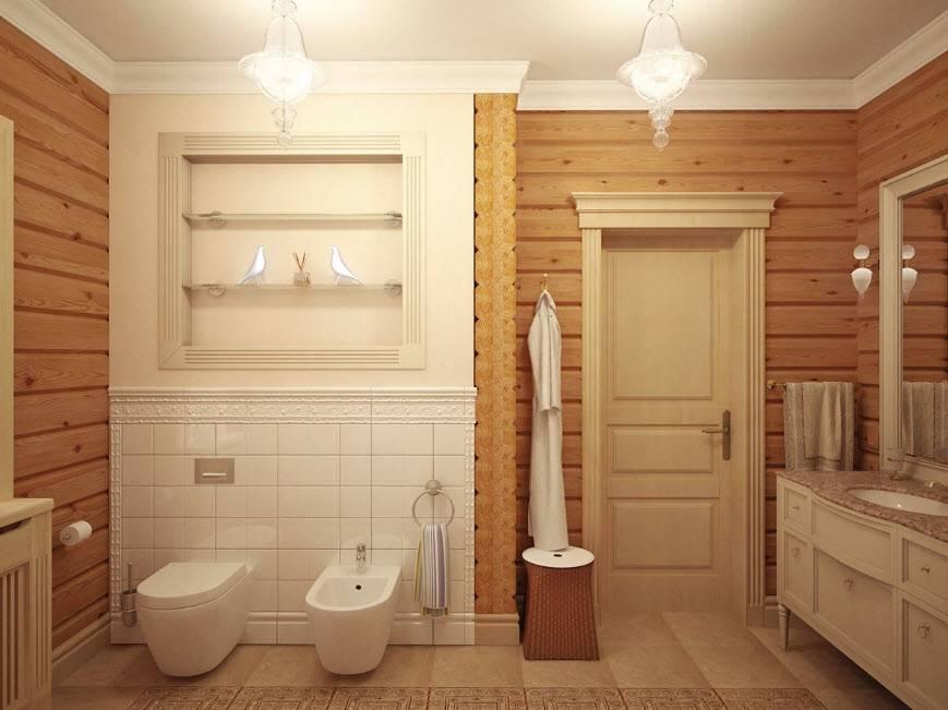 Санузел в деревянном доме — от планировки до отделки