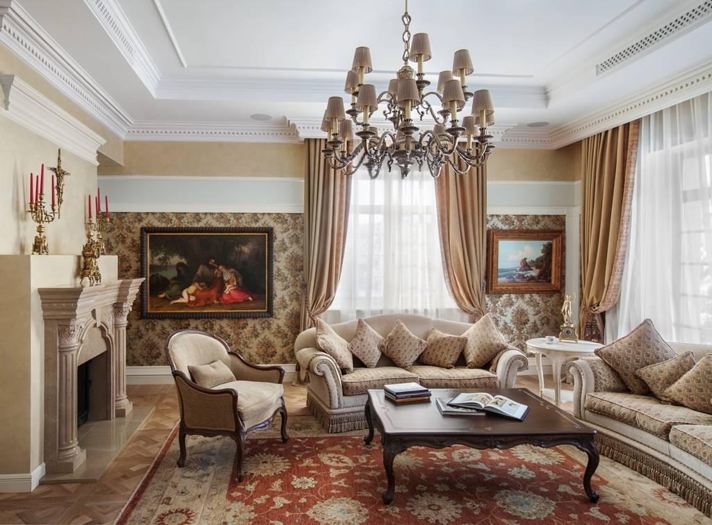 Гостиная в стиле современная классика в светлых тонах: дизайн, формление  - 31 фото