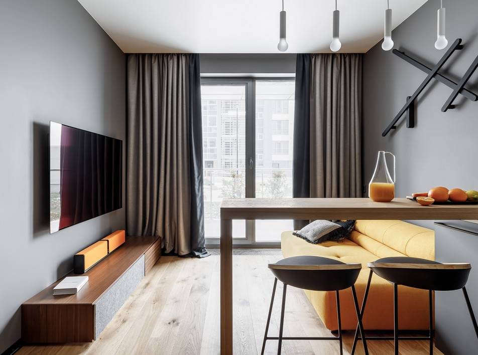 Дизайн квартиры-студии 29 кв. м.– фото интерьера, идеи обустройства