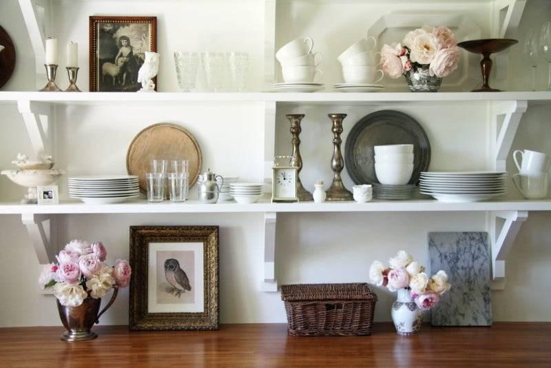 Открытые полки на кухне - виды, материалы, цвета и дизайн открытых полок в интерьере кухни + варианты установки (130 фото)