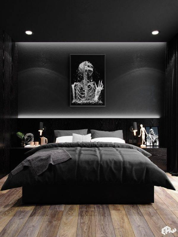 Черная спальня - подходящие стили для черной спальни. преимущества и недостатки черных цветов. трендовые оттенки. отделка комнаты (фото + видео)