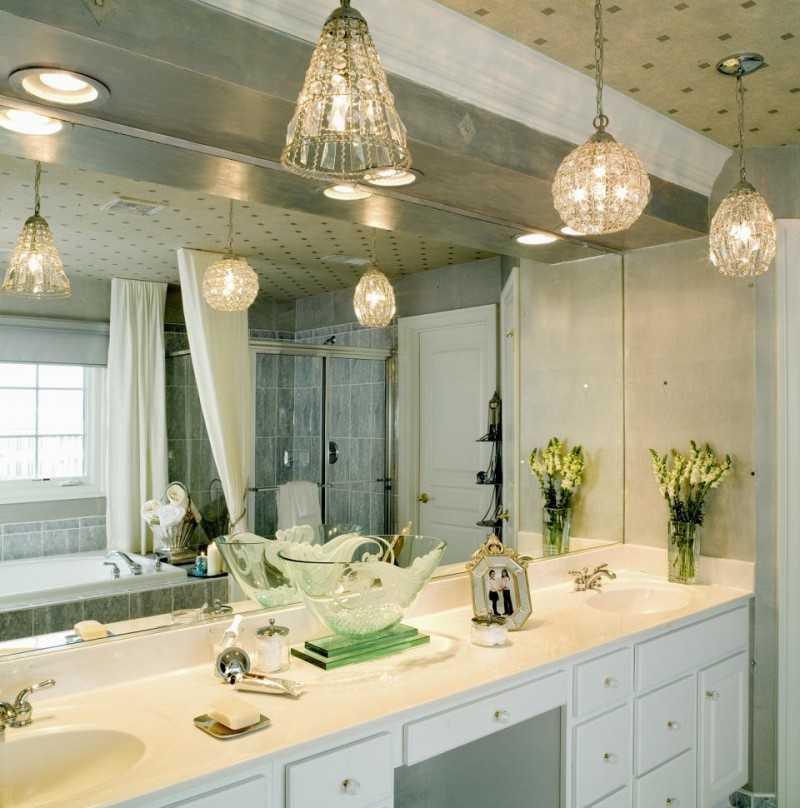 Светильники в потолок в ванной - 110 фото дизайн идей + особенности монтажа и подключения