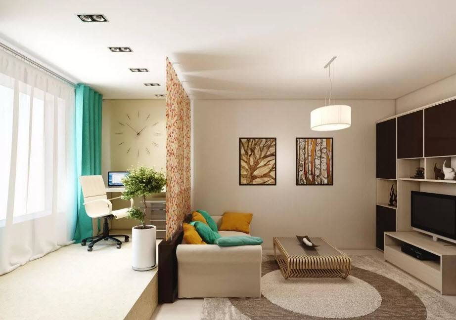 Гостиная и спальня в одной комнате — дизайн интерьеров на фото