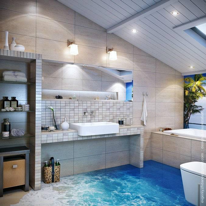 Дизайн ванной комнаты в морском стиле