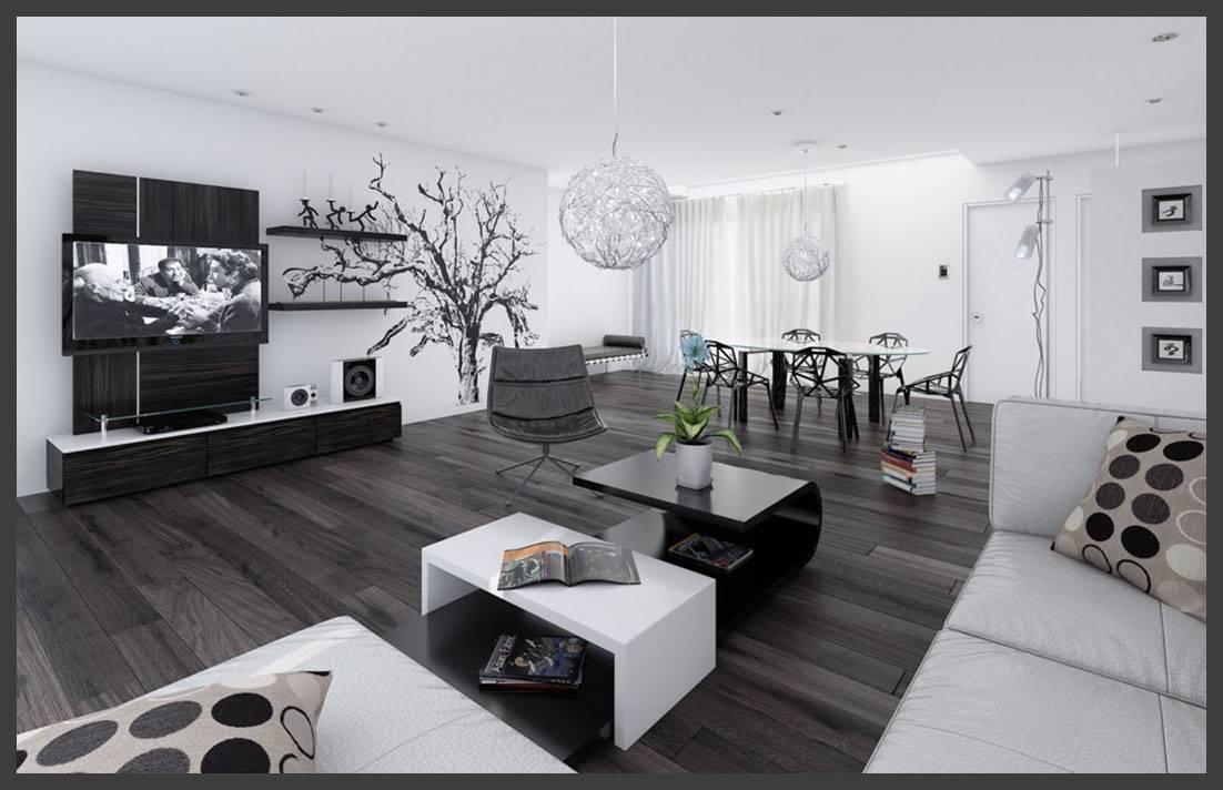Основные принципы создания интерьера в черно-белой гостиной