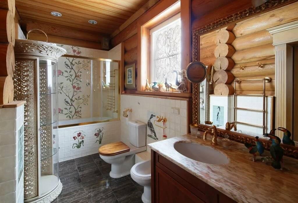 Деревянный дом: отделка и дизайн ванной комнаты