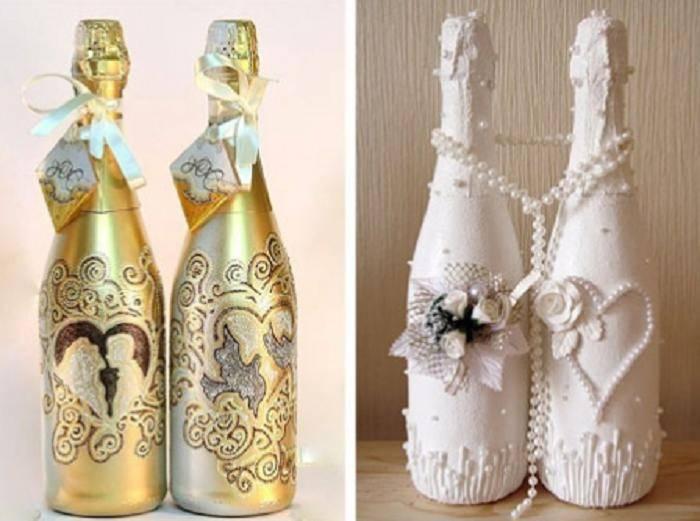 """Шампанское на свадьбу """"жених и невеста"""" - коробочка идей и мастер-классов"""