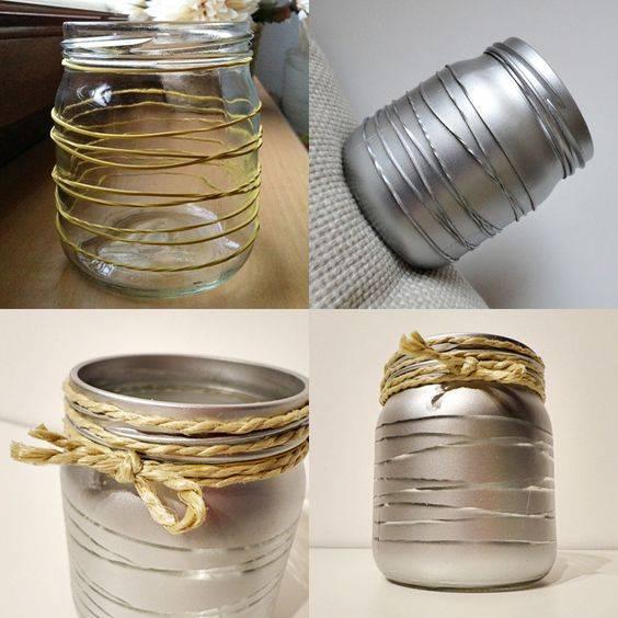 Декоративное оформление стеклянных банок: правила, стандартные методы и мастер-классы